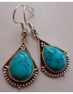 Boucles turquoise pendentes argent