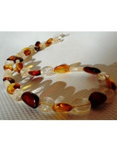 Collier citrine, ambre