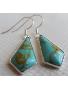 Boucles turquoise argent