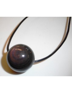 Obsidienne oeil celeste 12mm collier