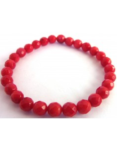 Corail rouge bracelet 8mm facette