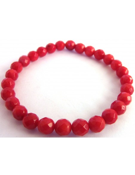 Corail rouge bracelet 6mm facette