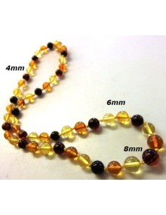 Collier bebe ambre boule 4, 6, 8mm