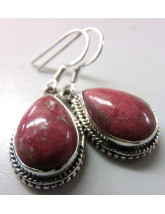Thulite rose boucles argent