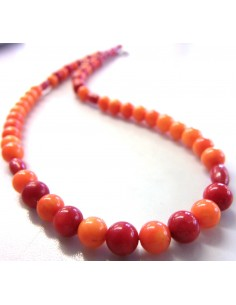 Corail orange et rouge collier 6mm