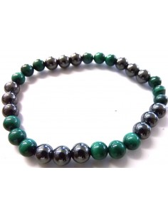 Bracelet magnetite, malachite 6mm