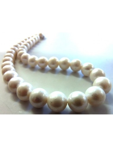 Collier perles blanches 10mm