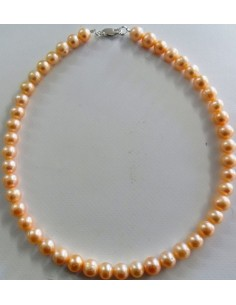 Collier perles orange